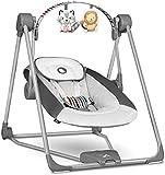 Lionelo Otto Columpio portátil para bebés hasta 9 kg 57 x 55 x 67 cm 5 velocidades de balanceo Facilita el sueño Fácil montaje Arco de juguetes interactivos ajustable Gris