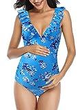 Mujer Trajes de Baño Una Pieza para Premamá Ropa de Playa Embarazada Volantes Azul Flores S