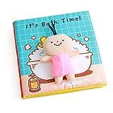Libros Blandos para Bebé, Libro de Tela Bebé Aprendizaje y Educativo Libro para Bebé Recién Nacido Niños, Juguetes y Aprendizaje, It's Bath Time, Estimula los Sentidos del Bebé (Blue)