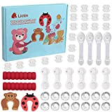 Lictin Kit de Seguridad para Bebés-48 PCS Kit de Protector para Bebés con 20 Cubiertas de Protección de Socket, 14 Protectores de Esquina de Silicona, 6 Cerradura del Cajón, 2 Tope de Puerta, etc