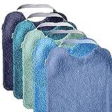 MIMUSELINA Pack 5 BABEROS RIZO GUARDERÍA con goma para fomentar AUTONOMÍA. Lavables, interior IMPERMEABLE y exterior RIZO ABSORBENTE máxima calidad. Babero goma cuello. (AQUA)